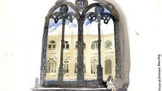 Urban Sketchers em Lisboa - Liz Watkins - Claustro dos Jerónimos Plaats: Lisboa Foto: Lis Watkins