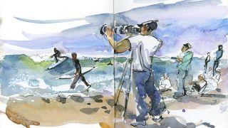 Urban Sketchers - Suhita Shirodkar - Supertubos-Peniche 地方: Peniche 照片: Suhita Shirodkar