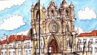 Urban Sketchers - Nelson Paciência - Mosteiro de Alcobaça  Local: Alcobaça Foto: Nelson Paciência