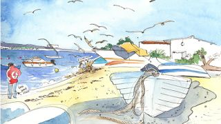 Urban Sketchers - Róisín - Praia do Farol 地方: Algarve 照片: Róisín Curé