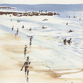 Urban Sketchers - Surf - João Catarino - Costa da Caparica Local: Costa da CaparicaFoto: João Catarino