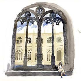 Urban Sketchers em Lisboa - Lis Watkins - Mosteiro dos JerónimosLocal: LisboaFoto: Lis Watkins
