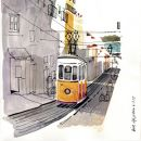 Urban Sketchers em Lisboa - Lis Watkins - Bica Ort: Lisboa Foto: Lis Watkins