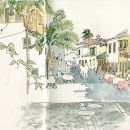 Urban Sketchers - Madeira - Ea Ejersbo - Funchal Place: Funchal Photo: Ea Ejersbo