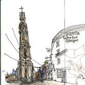 Urban Sketchers - Mário Linhares - Torre dos ClérigosLugar PortoFoto: Mário Linhares